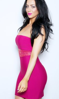 'SYDNEY' STRAPLESS BEADED BODYCON BANDAGE DRESS