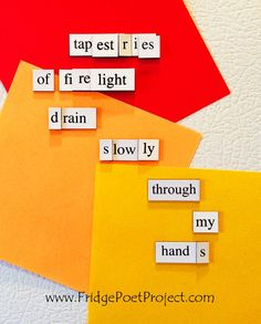 The Daily Magnet #276 Magnetic Poetry; Demagnetize Writer's Block! www.FridgePoetProject.com #writerslife