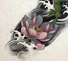 Floral Tattoo Design, Flower Tattoo Designs, Floral Design, Japanese Flowers, Japanese Art, Rose Flower Tattoos, Asian Tattoos, Irezumi Tattoos, Desenho Tattoo