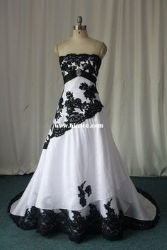 Wow, black and white wedding dress