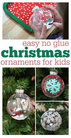 Easy no glue Christmas ornaments for crafting with kids. Great activity to help deck the halls and create fun works of art for your holiday tree.