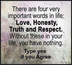 Love, Honesty, Truth & Respect