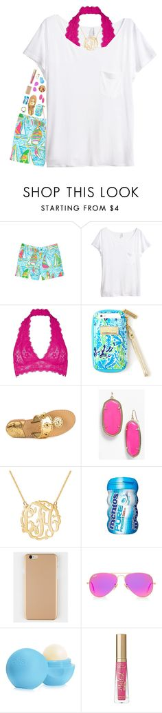 """""""I'm going to Fort Myers tomorrow!🐠⛵️🌻😘"""" by breezerw ❤ liked on Polyvore featuring Lilly Pulitzer, H&M, Free People, Jack Rogers, Kendra Scott, Ray-Ban, Eos and Too Faced Cosmetics"""