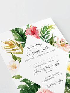 Tropical Floral Wedding Invitation, Tropical Wedding, Destination Wedding, Hibiscus, Beach Wedding, Hawaii Wedding, Wedding Abroad, - SAMPLE
