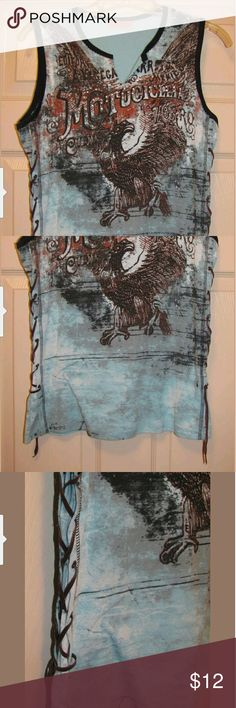 Skinny Minnie Western Moto Studded Top Sz L Ladies Sz L Skinny Minnie western style Moto studded front top with leather lace up sides excellent condition Skinny Minnie Tops
