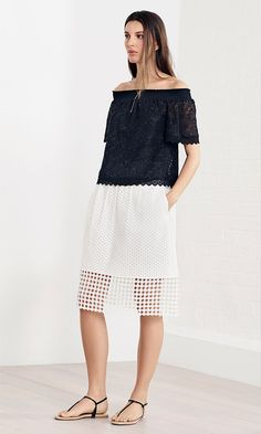 Karen Millen Spring | Summer 2016 - Broderie top and skirt