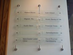 Wall Directory Signs | Wall-mounted directory signage: acrylic printed panels with solid ...