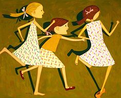 "∴ Trios ∴ the three graces & groups of 3 in art and photos - John Brack ""The Chase"" three of the artist's four daughters: probably Clara, Vicki and Freda. Australian Painters, Australian Artists, Design Seeds, Window Art, Art Database, Modern Artists, Art For Art Sake, Illustration Girl, Beautiful Artwork"