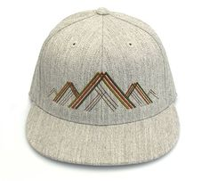 Men's Hat - Mountain Range Illustration - Men's Fitted & Snapback Options…