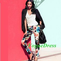 New 2014 Summer And Autumn Women Vintage Npvelty Popular Big Stretch Cotton Printed Tapered Legs Ninth Pants And Capris #324 $23.21