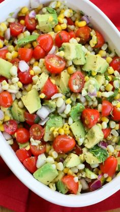 Corn, Avocado, and Tomato Salad Add some black beans, and this would be PERFECT!