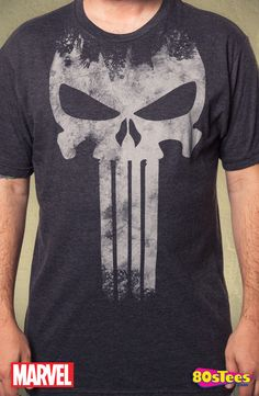 Punisher Skull Logo T-Shirt made by C-Life Group in collections: Super Heroes: Marvel Comics: Punisher, & Department: Adult Mens, & Color: Gray Punisher Logo, Punisher Skull, Gym Gear For Men, Clothing Logo, Skull Logo, Mens Tees, My Wardrobe, Marvel Comics, Shirts