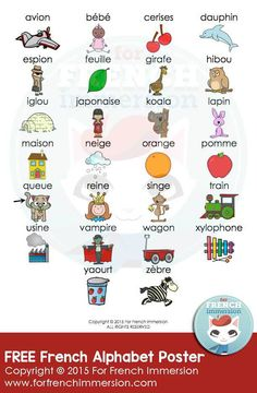 Free Illustrated French Alphabet Poster by For French Immersion French Articles, French Resources, French Alphabet, Learn To Speak French, Free In French, French Classroom, French Teacher, French Immersion, Ways Of Learning