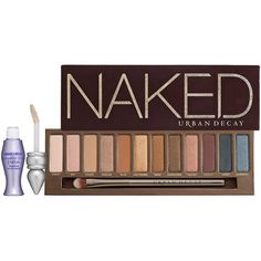 Urban Decay Naked ($54) ❤ liked on Polyvore featuring beauty products, makeup, eye makeup, eyeshadow, beauty, eyes, cosmetics, urban decay, urban decay eye shadow and shadow brush