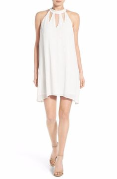 FIRE White High Neck Gauze Shift Dress Extra Small $48 FTC #3887