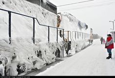 GP38-2 1801 and GP40-2 2202 leads Polar Bear Express into Moosonee after a slow trip through heavy snow that put one engine out of service due to shorting and blocked vents on the second engine.: ON 1801 Ontario Northland EMD GP38-2 at Moosonee, Ontario, Canada by Paul Lantz