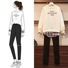 Sweater stitching fake two pieces + hole denim cropped trousers Kpop Fashion Outfits, Ulzzang Fashion, Cute Fashion, Look Fashion, Korean Outfits, Fashion Drawing Dresses, Fashion Illustration Dresses, Fashion Dresses, Korean Street Fashion