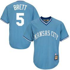 #Spring #AdoreWe #Fanatics.com - #Majestic George Brett Kansas City Royals Majestic Cool Base Cooperstown Collection Player Jersey - Light Blue - AdoreWe.com