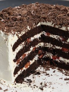"Black Forest Cake from King Arthur Flour ""Tall, chocolate, and cherry goodness, the bakery case bombshell. Cake Recipes, Dessert Recipes, Kolaci I Torte, Black Forest Cake, Let Them Eat Cake, Just Desserts, Granola, Cupcake Cakes, Cupcakes"