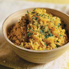 Coriander Rice Recipe Side Dishes with olive oil, shallots, ground coriander, tumeric, basmati rice, low salt chicken broth, salt, flat leaf parsley