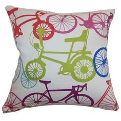 """The Pillow Collection Echuca Bicycles Cotton Throw Pillow Color: Confetti, Size: 24"""" x 24"""""""