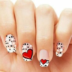 There are various materials out there for painting nail art. Marine nail art can cause you to look really cool. Acrylic nail art can definitely add to the woman's beautification. Bridal Nails Designs, Heart Nail Designs, Valentine's Day Nail Designs, Pedicure Designs, Simple Nail Designs, Pedicure Ideas, Heart Nail Art, Dot Nail Art, Heart Nails