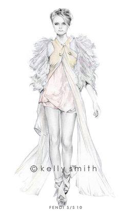Fashion Illustration: Fendi S/S 10 by Kelly Smith