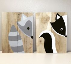 Set of 2 woodland animals woodland nursery by AmbersWoodenBoutique