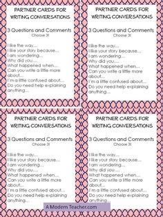 A Modern Teacher: Modern Teaching Mondays: Writing Partner Cards Co Teaching, Teaching Writing, Teaching Ideas, Writing A Persuasive Essay, Argumentative Essay, Conversation Starters For Kids, Partner Cards, Writing Sites, Writing Conferences