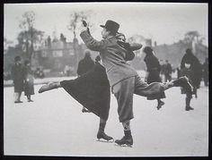 Vintage Christmas Greeting Card Black & White Photo Edwardian Couple Ice Skating