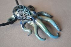 Dichropus Octopus Pendant on adjustable cord or necklace chain by Glassnfire on Etsy