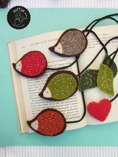 Felt bookmarks by Sirlei Toledo Book Crafts, Hobbies And Crafts, Felt Crafts, Fabric Crafts, Sewing Crafts, Sewing Projects, Craft Projects, Crafts For Kids, Hedgehog Craft