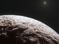 Este wallpaper do espaço mostra uma impressão artística da superfície do planeta anão Makemake. Este planeta anão tem cerca de dois terços do tamanho de Plutão, e viaja em torno do Sol num caminho distante que está para além de Plutão, mas mais perto do Sol do que Eris, o planeta anão mais maciço conhecido no Sistema Solar. Pensava-se que o Makemake tem uma atmosfera como Plutão, mas foi agora demonstrado que não é o caso.