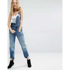 Levi's Heritage Overall Dungarees (€120) ❤ liked on Polyvore featuring jumpsuits, blue, levi overalls, distressed overalls, blue jumpsuit, tall jumpsuit and overalls jumpsuit