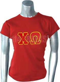 CHI OMEGA T-SHIRT WITH GREEK LETTERS, RED  Item Id: PRE-ST-CW-LTR-RED-ST    Price: $39.00