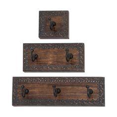 Woodland Imports 14442 Wood Metal Wall Hook (Set of 3) | ATG Stores