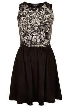 Zodiac Print Skater Dress