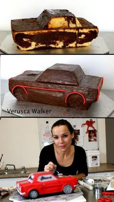 Ford Mustang Car Cake by Verusca Walker Cake Decorating With Fondant, Cake Decorating Techniques, Cake Decorating Tutorials, Mustang Cake, Ford Mustang, Fondant Cakes, Cupcake Cakes, Fondant Bow, Fondant Flowers