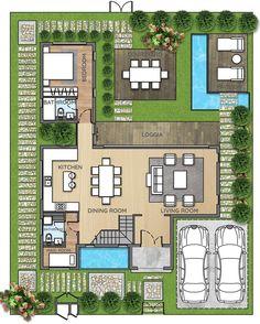 Ideas Small Villa Landscape Design For 2019 Villa Design, Modern House Design, Villa Plan, Courtyard House Plans, Facade House, House Layout Plans, House Layouts, Home Design Floor Plans, House Floor Plans