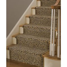 In exploring ideas for the Chinoiserie stair runner, we have looked at three choices that I love - leopard (chic and very practical hidin. Stair Shelves, Narrow Entryway, Florida, Painted Stairs, Stair Railing, Railings, Chinoiserie Chic, Stairway To Heaven, Hallway Decorating