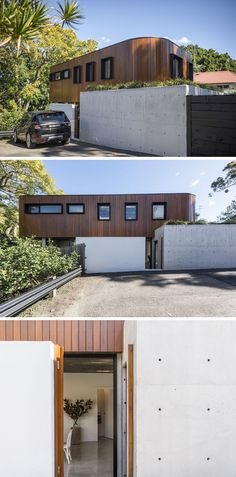 Real estate firm BresicWhitney have recently listed this modern curved wood and concrete house that's located in Sydney, Australia.