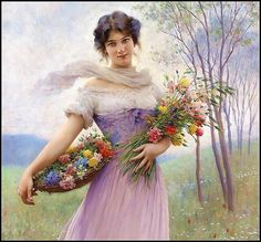 detail - Girl in a Lilac-Coloured Dress with Bouquet of Flowers - Eugene de Blaas. (1843 1931)