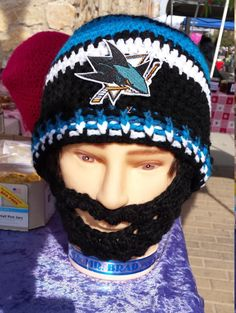 Check out this item in my Etsy shop https://www.etsy.com/listing/510066771/san-jose-sharks-bearded-beanie-sharks
