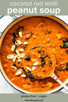 Coconut Red Lentil Peanut Soup is a hearty, meat-free, West African inspired soup recipe. The coconut milk and lentils make it thick and creamy and the peanut butter gives it the best flavor. Bonus that it& easy to make, healthy, and incredibly delicious. Vegan Soups, Vegetarian Recipes, Healthy Recipes, Red Lentil Recipes, Vegan Dishes, Easy Recipes, Easy Meals, Whole Food Recipes, Dinner Recipes