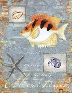 Paul Brent Poster Print Wall Art Print entitled Maritime, None Canvas Art Prints, Framed Art Prints, Fine Art Prints, Poster Prints, Framed Canvas, Decoupage Paper, Illustrations, Fish Art, Artwork