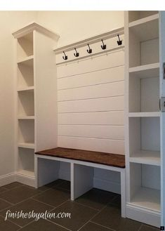 99 DIY Mudroom Organization Ideas Beautiful mudroom bench with shiplap back and dual side cubbies which are 16 inches deep! The old baseboards were re-purposed at the base of the cubbies and under the bench. Mudroom Laundry Room, Bench Mudroom, Door Bench, Mudrooms With Laundry, Mud Room Lockers, Mudroom Cubbies, Garage Mudrooms, Closet Bench, Garage Bench