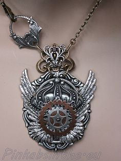 Steampunk winged crown Gothic necklace