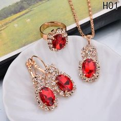 Fashion Blue Crystal Stone Wedding Jewelry Sets For Brides Silver Color Necklace Set For Women