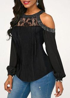 Stylish Tops For Girls, Trendy Tops, Trendy Fashion Tops, Trendy Tops For Women Casual Skirt Outfits, Mode Outfits, Blouse Styles, Blouse Designs, Ankara Gown Styles, Cold Shoulder Blouse, Embellished Dress, Ladies Dress Design, Blouses For Women