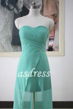 Tiffany Blue Sweetheart Bridesmaid Dress Turquoise Chiffon Bridesmaid dress High-low Prom Party Dress chiffon Beach Wedding dress by ASDRESS on Etsy